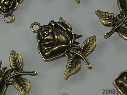 20981 Přívěšek RŮŽE 25/17 bronzová, bal. 2ks