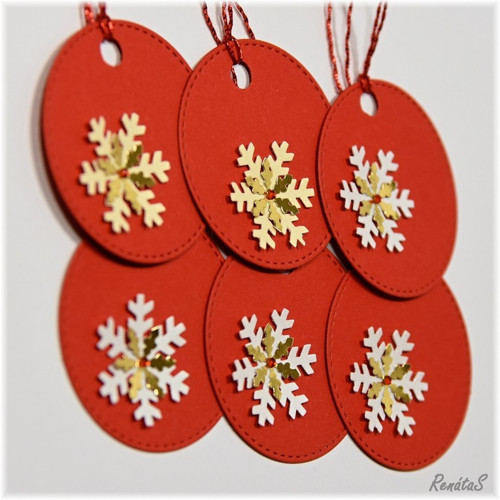 Vánoční visačky - jemná vločka červenozlatá