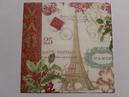 Ubrousek na decoupage - Paris carte postale