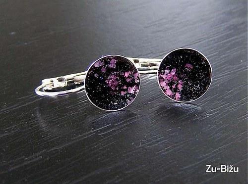 Čierne trblietky s ružovými kamiekami