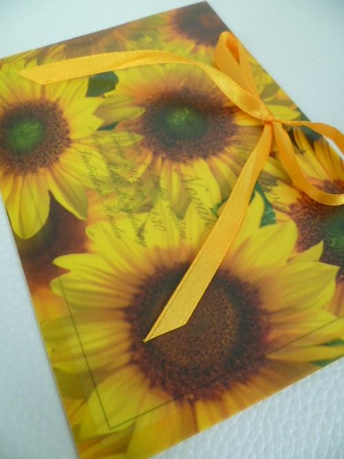 slunečnicové svatební oznámení,pergamenový papír