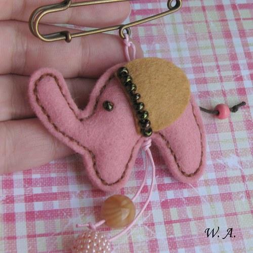 Sloník  ve starorůžovém, ozdobný špendlík