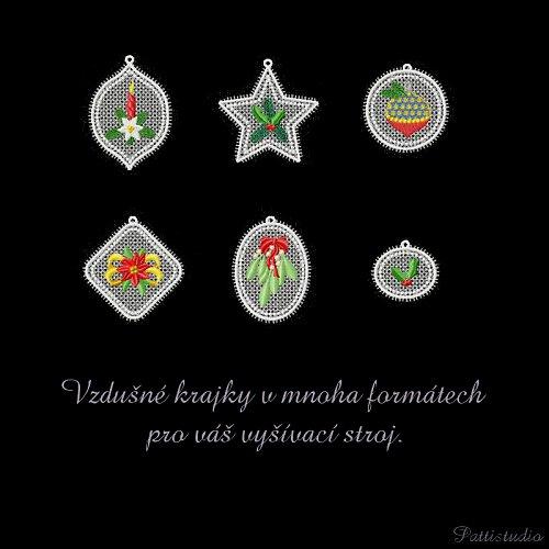 Vyšívací vzory - Krajkové ozdoby 5 - Vánoce