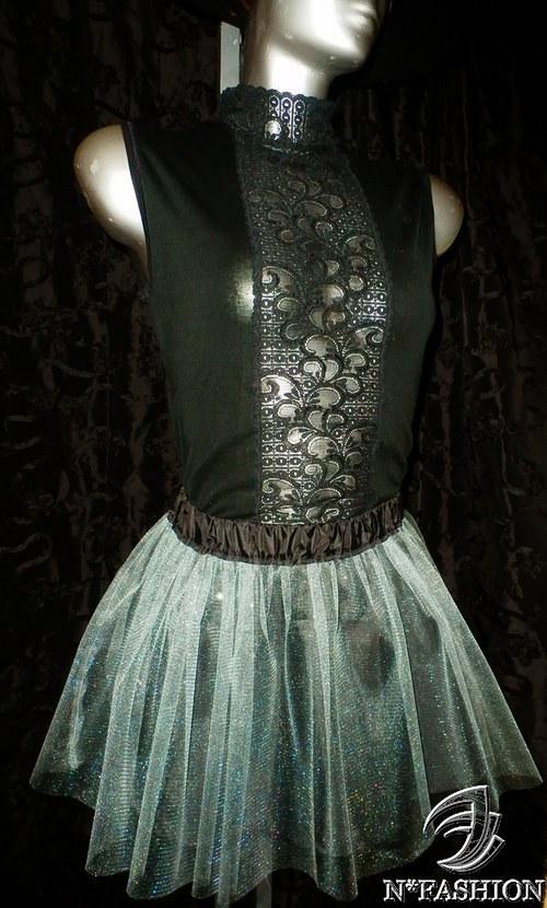 YVONNE - Stříbrná tylová sukně.