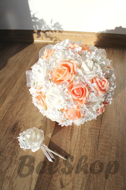 Svatební kytice meruňka vč. korsáže