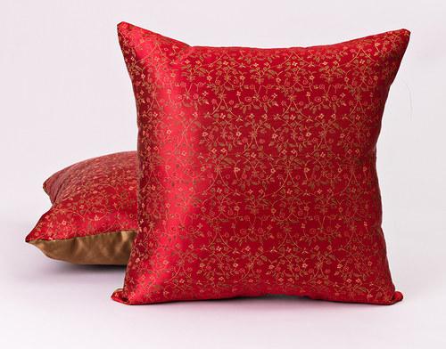 Dekorační polštář, červený brokát, 45x45 cm