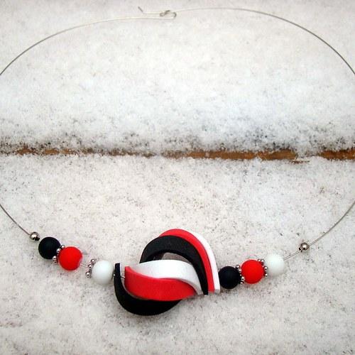náhrdelník ulita červenočernobílá