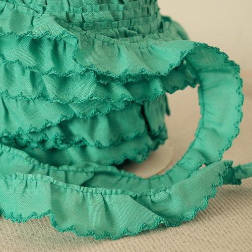 Řasený dekorovací proužek zelený 20 mm
