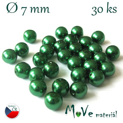 České voskové perle 7mm, 30ks, zelené