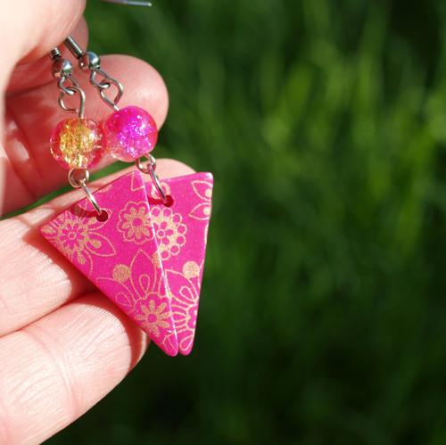 Náušnice - růžovozlaté květy