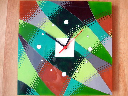 Hodiny malované na sklo - pruhaté, variace č.3 :-)