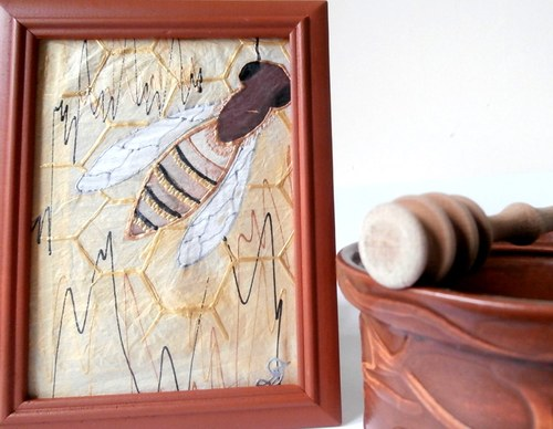 Pro zanícené včelaře-obr.malovaný na hedvábí II.