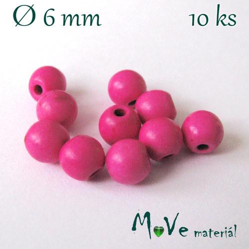 Korálky syntetický tyrkenit 6mm, 10ks, růžový