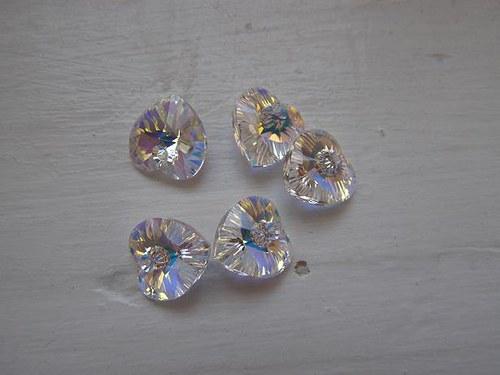 Srdce Swarovski crystal AB 10, 3x10mm