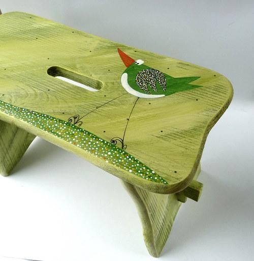 dřevěné štokrle -  zelené s ptáčkem