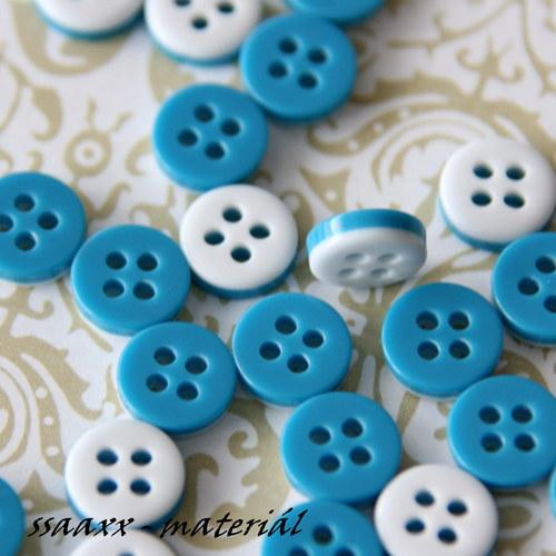 Oboustranný knoflík - modro - bílý, 2ks