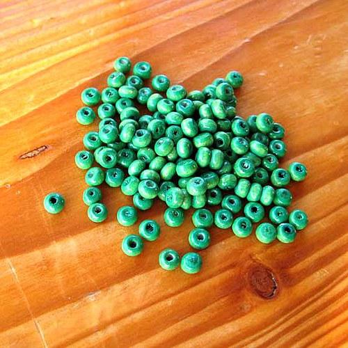 Dřevěné Korálky 3x4mm - 100ks - Zelené