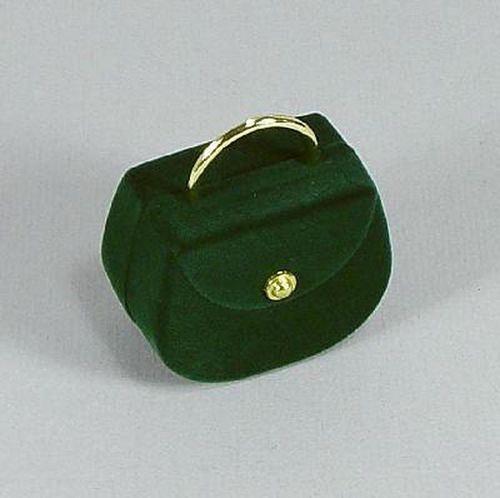 Sametová krabička na šperky - zelená taška