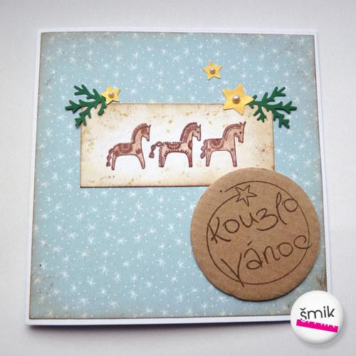 vánoční přání s koníky a hvězdičkami
