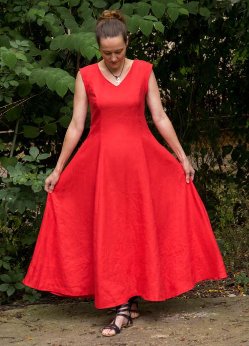 Obláčkové červené - lněné maxi princesové šaty