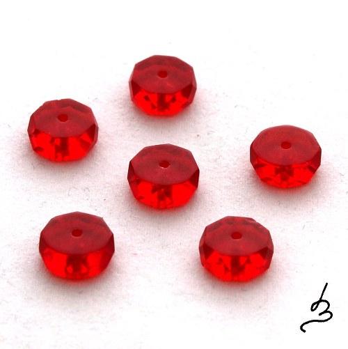 Rondelky broušené červené, 10 ks