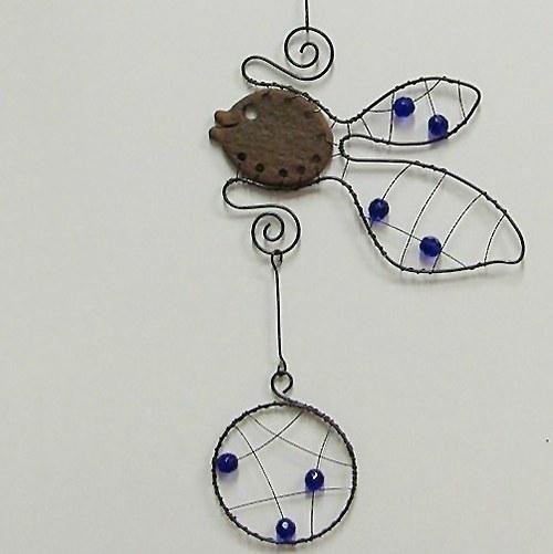 závěs rybky -keramika-drát