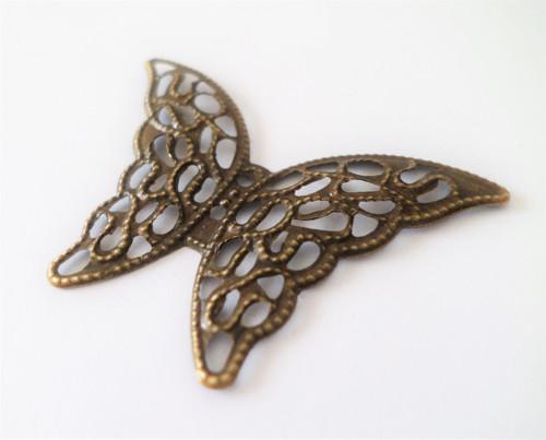 Kovová dekorace Antik bronz Motýl filigree 2ks