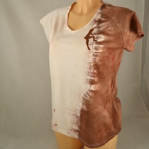 Béžovo-hnědé dámské triko s horolezcem L