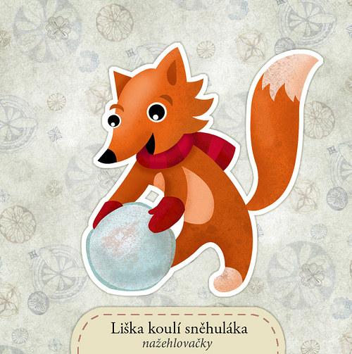 Liška koulí sněhuláka - nažehlovačka
