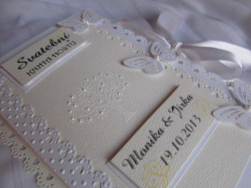 Svatební kniha hostů- butterfly champagne bílá
