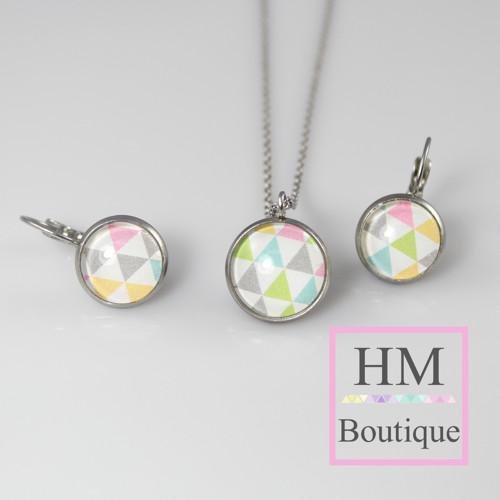 ocelový set -náušnice a náhrdelník trojúhelníky