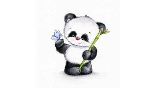 Panel - teplákovina  panda s motýlkem