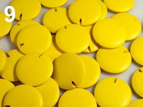 Dřevěné korálky disk Ø25mm (10ks) - žlutá