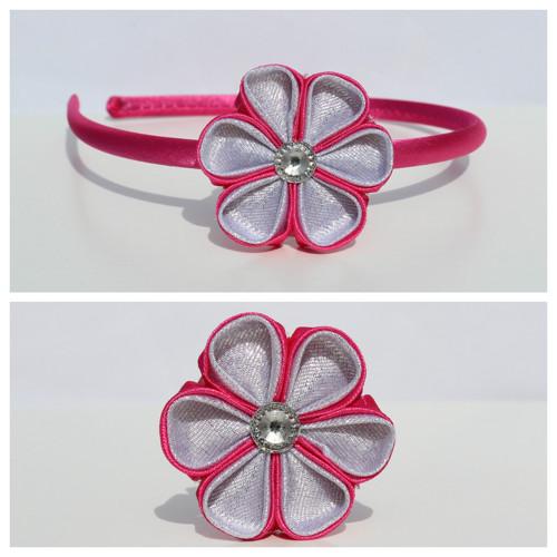 Čelenka plastová - sytě růžovo-stříbrný květ