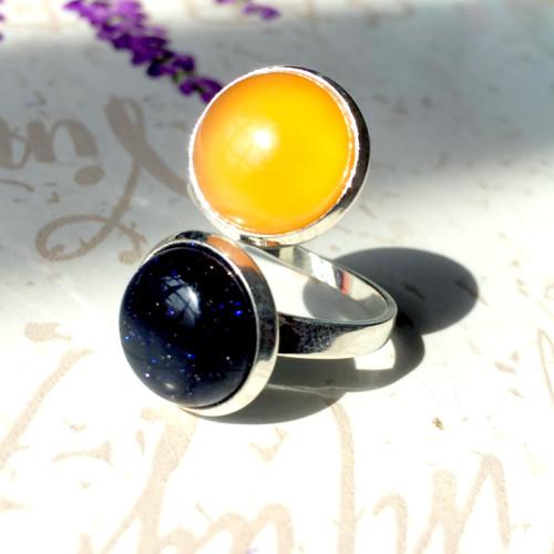 Duo prsten Den a Noc - modrý slun. kámen a achát