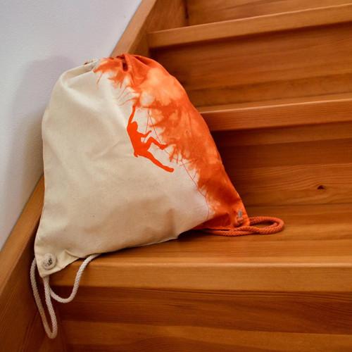 Plátěný batůžek (pytel) s horolezcem - oranžový