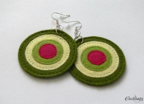 Filcové náušnice - zelené