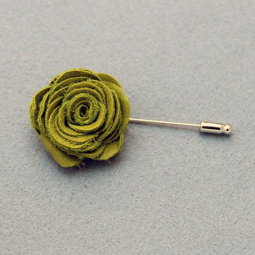 Ozdoba do klopy - zelená kožená květina