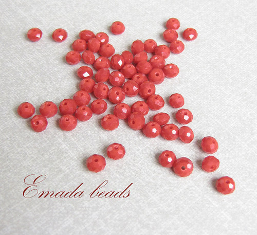 Broušené rondelky, malinová 0,5 x 0,4 cm