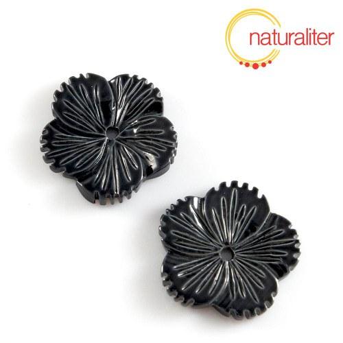 Perleťový květ 24mm černý