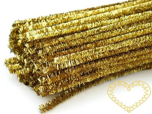 Modelovací chlupatý drátek zlatý - 10 kusů