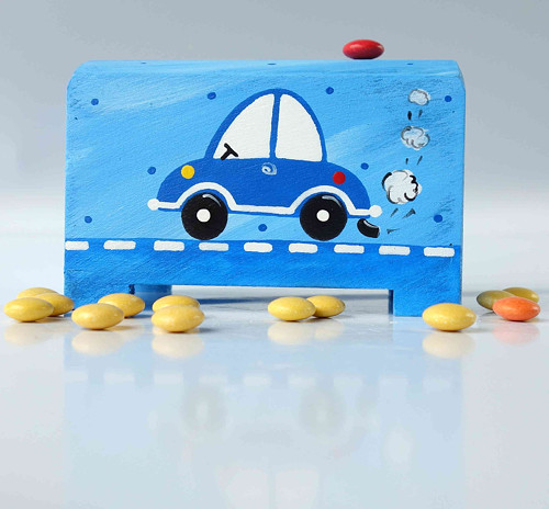 pokladnička - modrá s autem