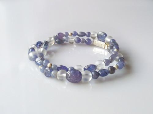 Náramek nebo náhrdelník tanzanit-křišťál-stříbro
