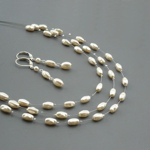 Smetanová perličková rýže - třířadý náhrdelník