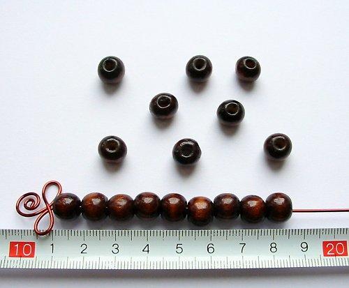 Dřevěné kuličky tmavě hnědé, průměr 10 mm, 25 ks