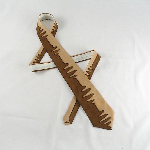 Hnědo-béžová hedvábná kravata
