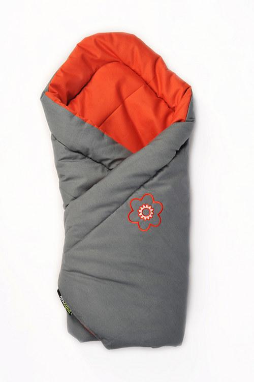 Zavinovačka šedo-oranžová s ovčí vlnou