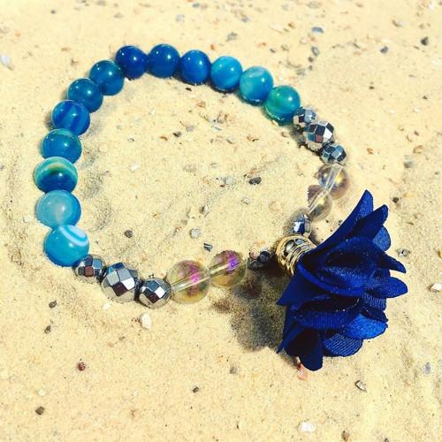 Andělský minerální náramek Květina modrá