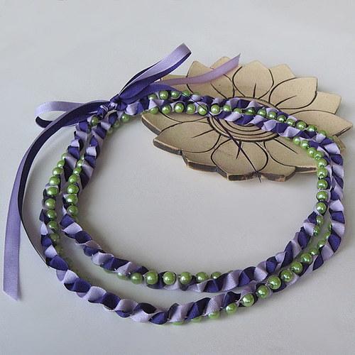 Perličky v taftu - fialovozelená