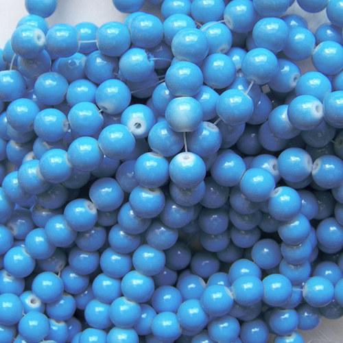 skleněné korálky LESK/ modrá sytá/ 8mm/14ks